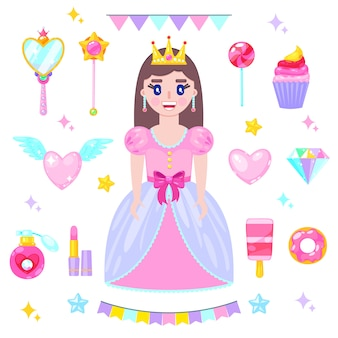 Set of cartoon princess in pink dress and her accessories
