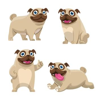 Set cartoon of pug dog collection