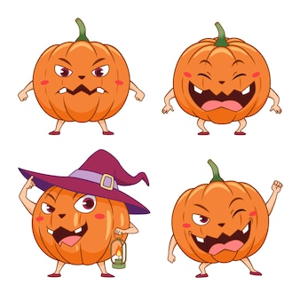 Set of cartoon pumpkins in different poses for halloween.