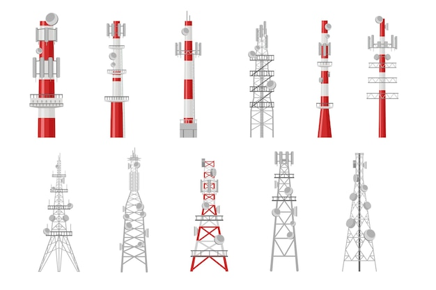 Set of cartoon radio towers illustration