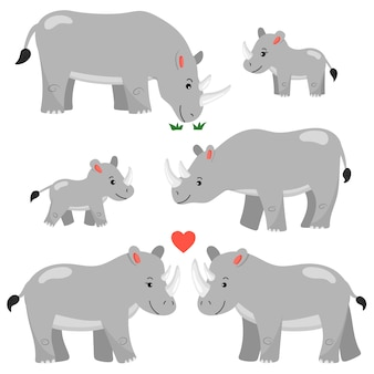 A set of cartoon rhinos characters. isolated. african animals. rhinos family.
