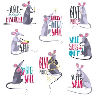 Set of cartoon sale emblems with rats