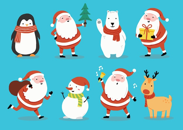 Set of cartoon santa claus, deer, snowman, penguin for christmas banner, greeting card illustration. happy cute character christmas collection.
