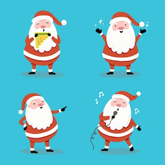 Set of cartoon santa claus in different poses  for christmas banner, greeting card illustration. santa character collection.