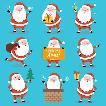 Set of cartoon santa claus in different poses