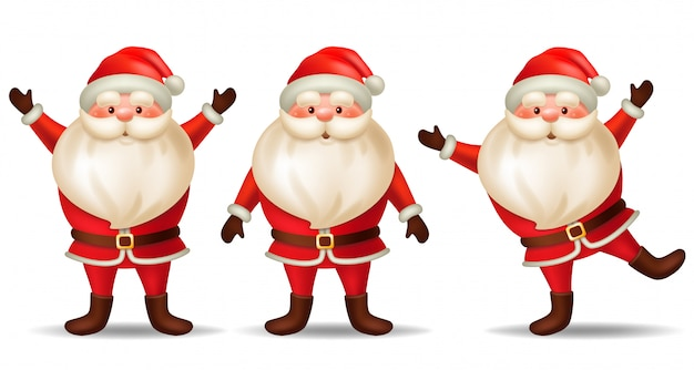 Set cartoon santa claus.
