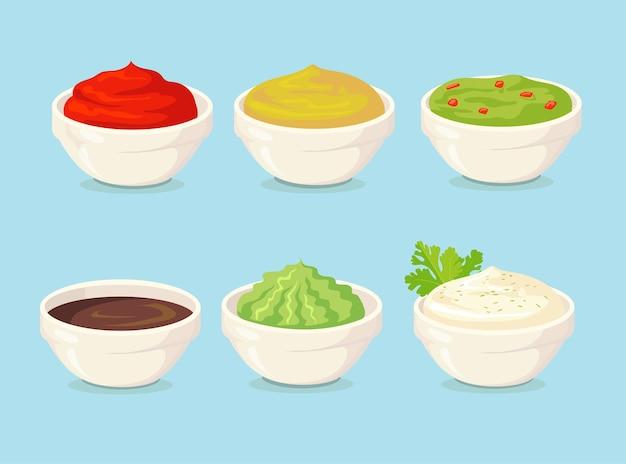Set of cartoon sauces flat illustration.