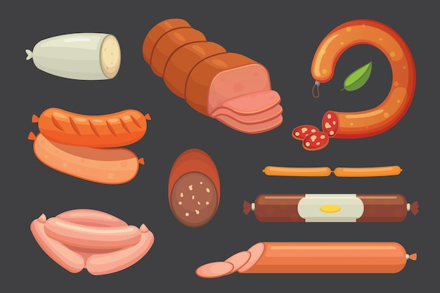 Set of  cartoon sausage. bacon, sliced salami and smoked boiled. isolated fresh grilled product on a white background isolated illustration