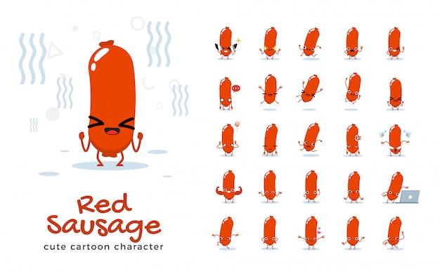 Set of cartoon  of sausage.  illustration.