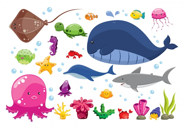 Set of cartoon sea animals