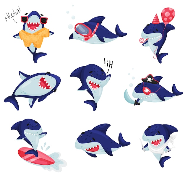 Set cartoon sharks in different situations