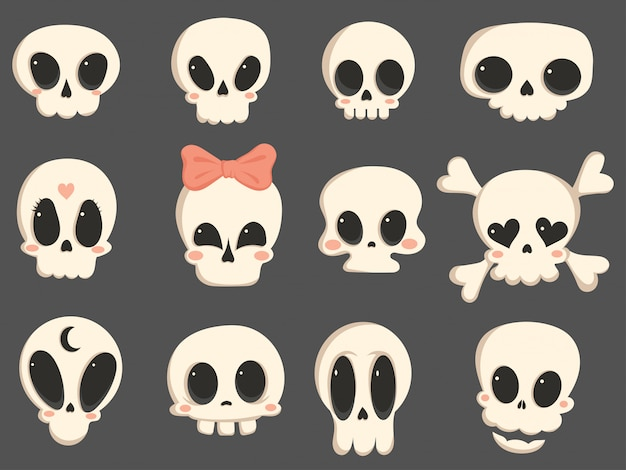 Set of cartoon skulls. a collection of cute skulls for halloween.