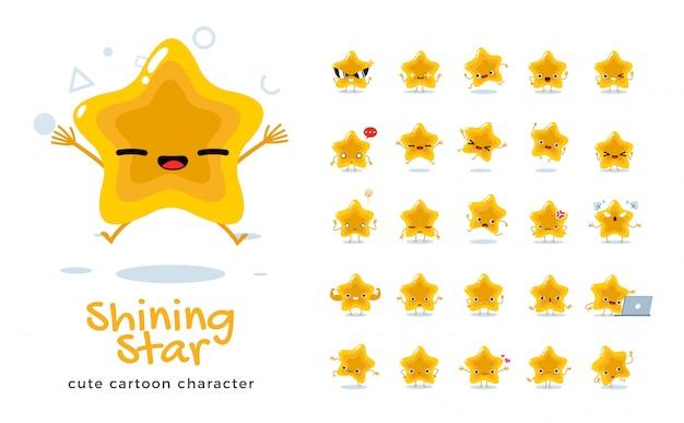 Set of cartoon  of star.  illustration.
