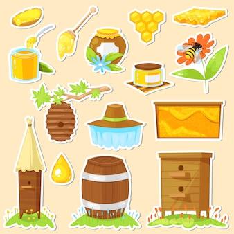 Set of cartoon stickers of beekeeping