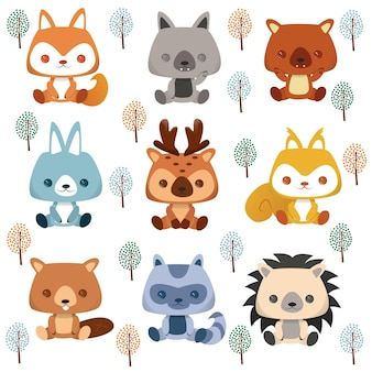 Set of cartoon stickers and emoji avatars of tropical