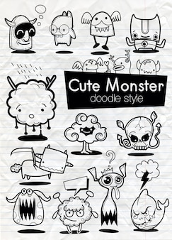 Set of cartoon stickers of monsters