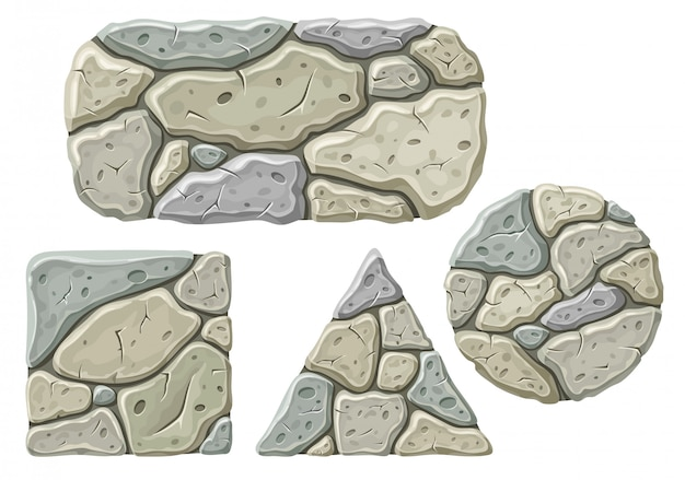 Set of cartoon stone boards.