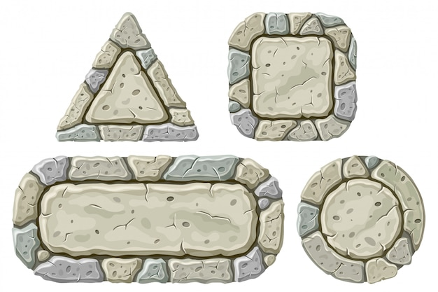 Set of cartoon stone boards