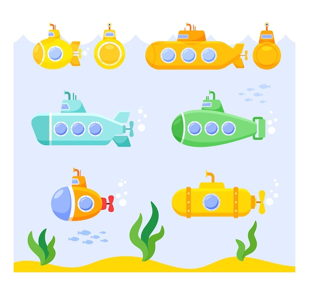 Set of cartoon submarines on underwater seascape background with weeds and fish