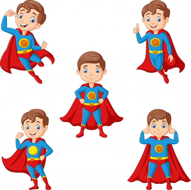 Set of cartoon superhero boy