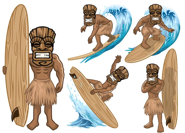 Set of cartoon tiki mask play surfing collection