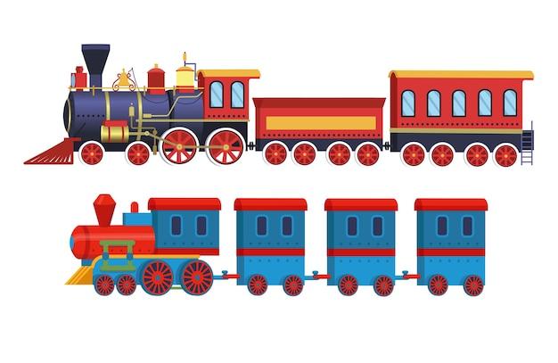 Set of cartoon toy trains isolated on white