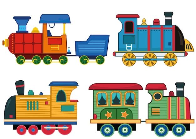A set of cartoon train vector illustrations