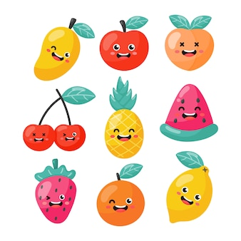 Set of cartoon tropical fruit characters in kawaii style, isolated on white .