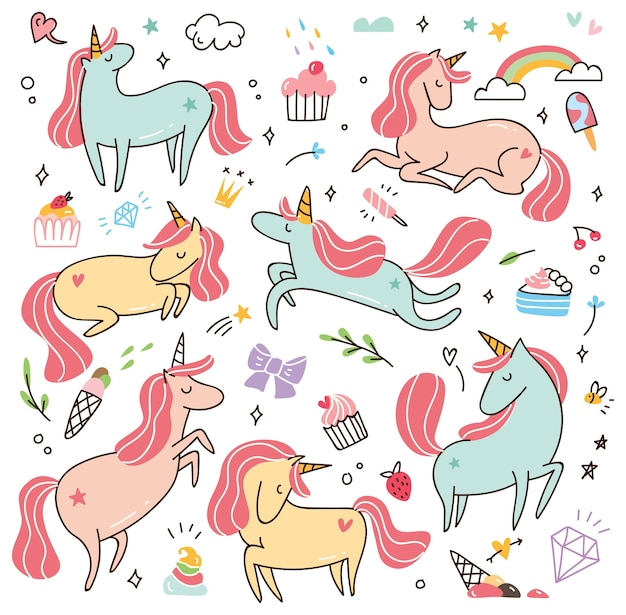 Set of cartoon unicorns