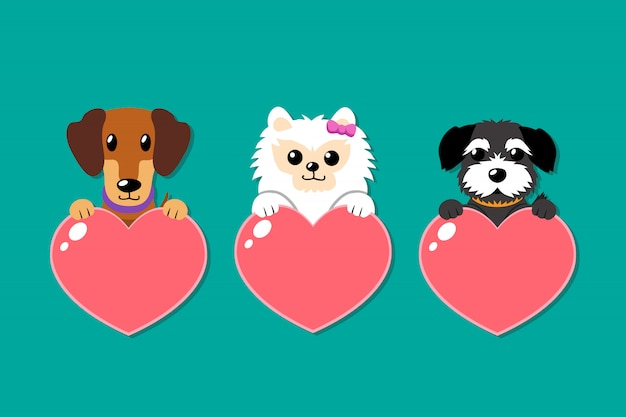 Set of cartoon vector dogs with heart signs