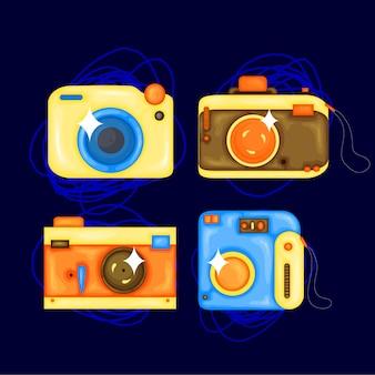사진 카메라의 만화 벡터 일러스트 레이 션을 설정합니다. 스티커, 인쇄, 포스터, 사이트, 앨범, 의류에 대한 만화 스타일 디자인 요소입니다.