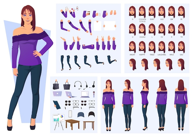 Set of cartoon vector illustrations for trendy woman character creation with front, side, back view