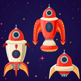 Set of cartoon vector spaceships and rockets