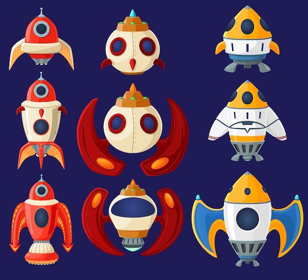Set of cartoon vector spaceships and rockets
