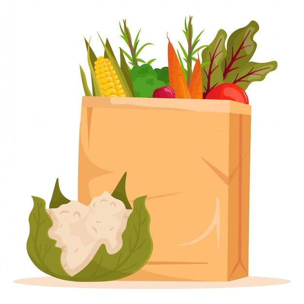 Set of cartoon vegetables in paper bag. raw vegetarian food.