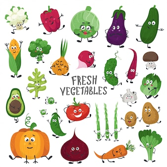 Set of cartoon vegetables.