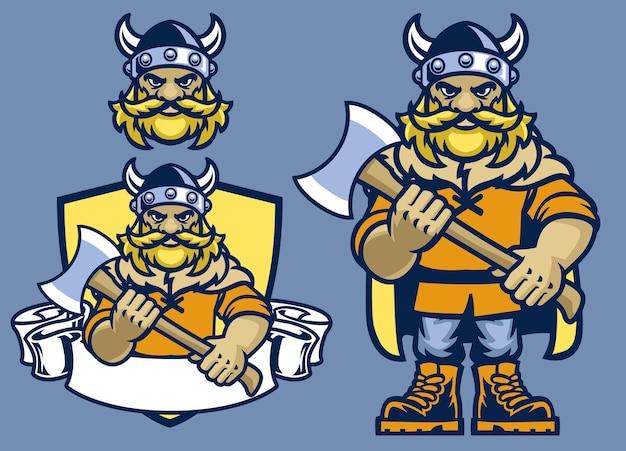 Set of cartoon viking mascot