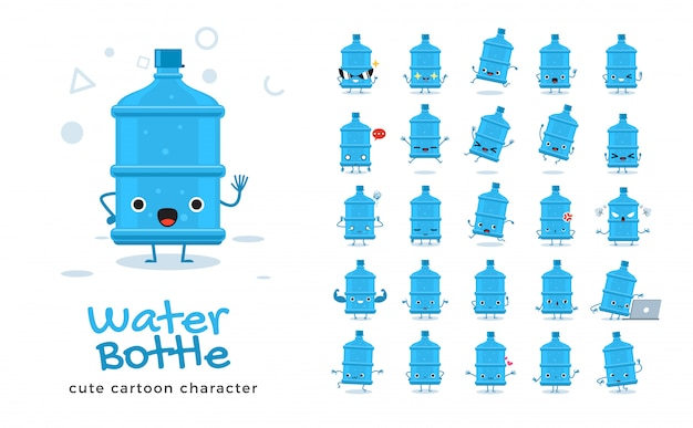 Set of cartoon  of water bottle.  illustration.
