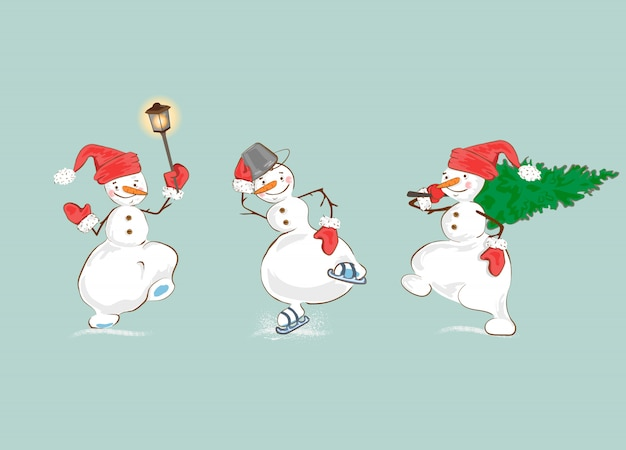 Set of cartoon winter holidays snowman.