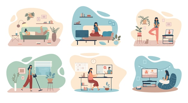 Set of cartoon women spending time at home in isolation