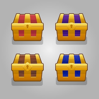 Set cartoon woode closed chests decorated silver for computer game