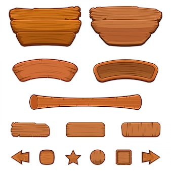Set of cartoon wooden buttons with different shapes for game user interface (gui) development, illustration