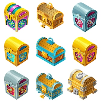 Set cartoon wooden isometric closed chests decorated silver for computer game