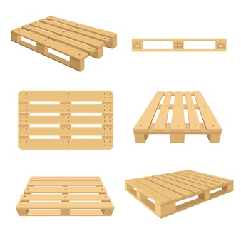 Set of cartoon wooden pallets flat illustration. colorful wood pallets for stacking from different sides
