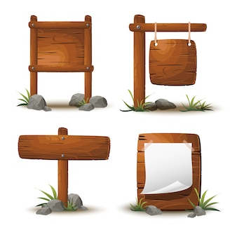 Set of cartoon wooden planks or signboards