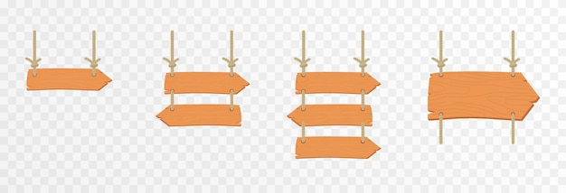 Set of cartoon wooden pointers plates hanging wooden sign wooden pointers plaques