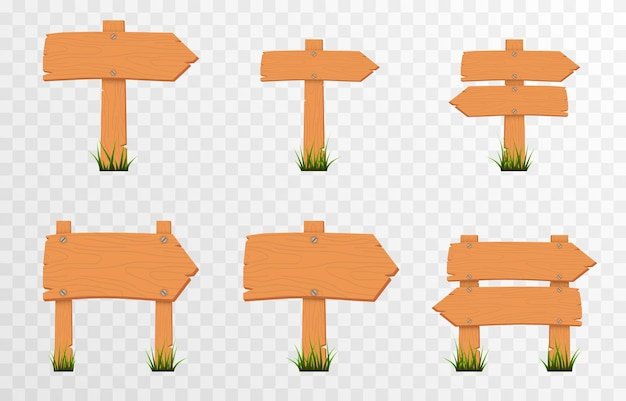 Set of cartoon wooden pointers signs on green grass wooden pointers plaques