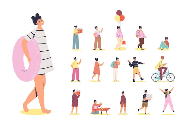 Set of cartoon young or little girl holding swimming ring in different lifestyle situations and poses: riding bicycle, broken piggy bank and holding present gift box. flat vector illustration