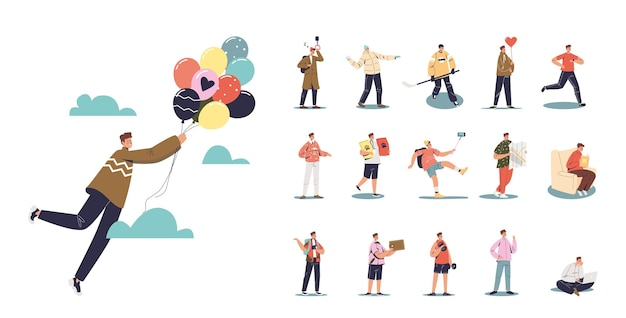Set of cartoon young man fly holding air balloons in different situations and poses