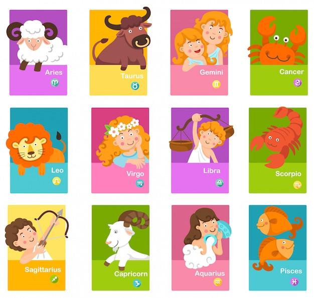 Set cartoon zodiac signs